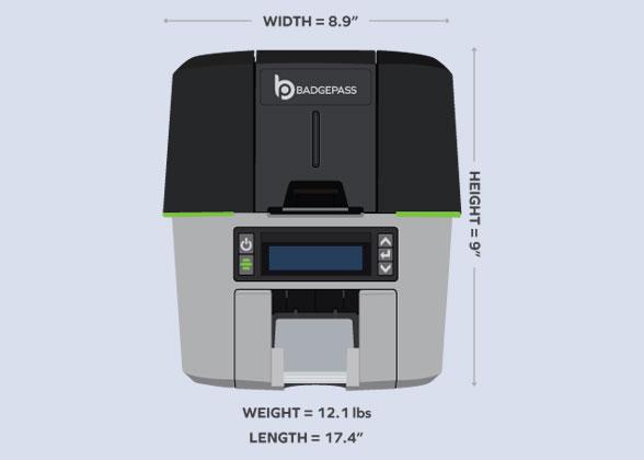 BadgePass HALO ID card printer dimensions